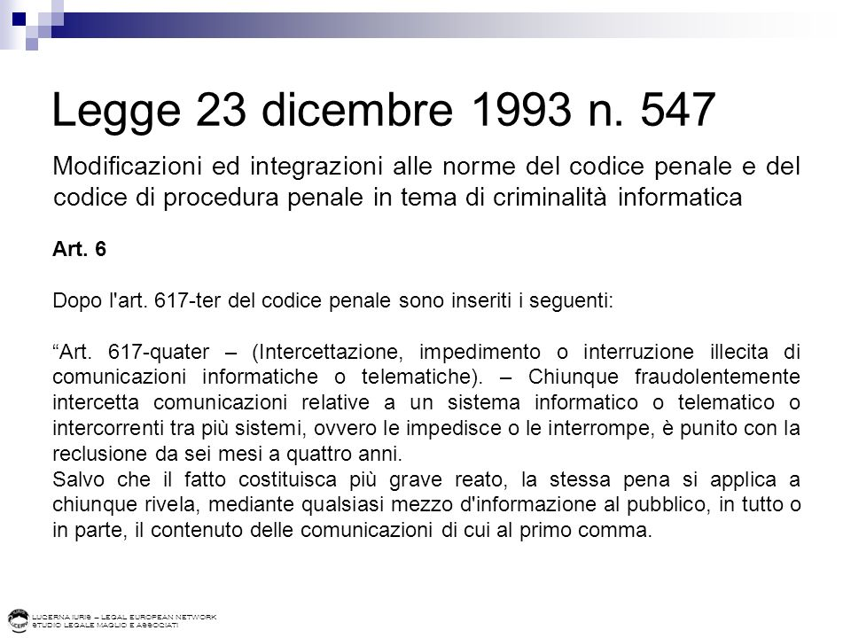 Legge 23 dicembre 1993 n. 547