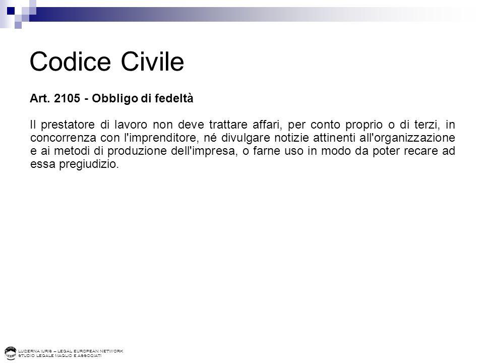 Codice Civile Art. 2105 - Obbligo di fedeltà