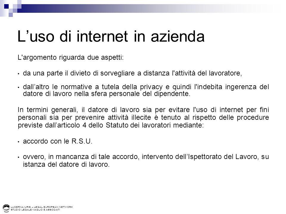 L'uso di internet in azienda
