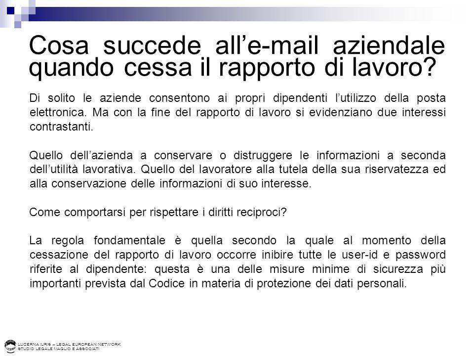 Cosa succede all'e-mail aziendale quando cessa il rapporto di lavoro