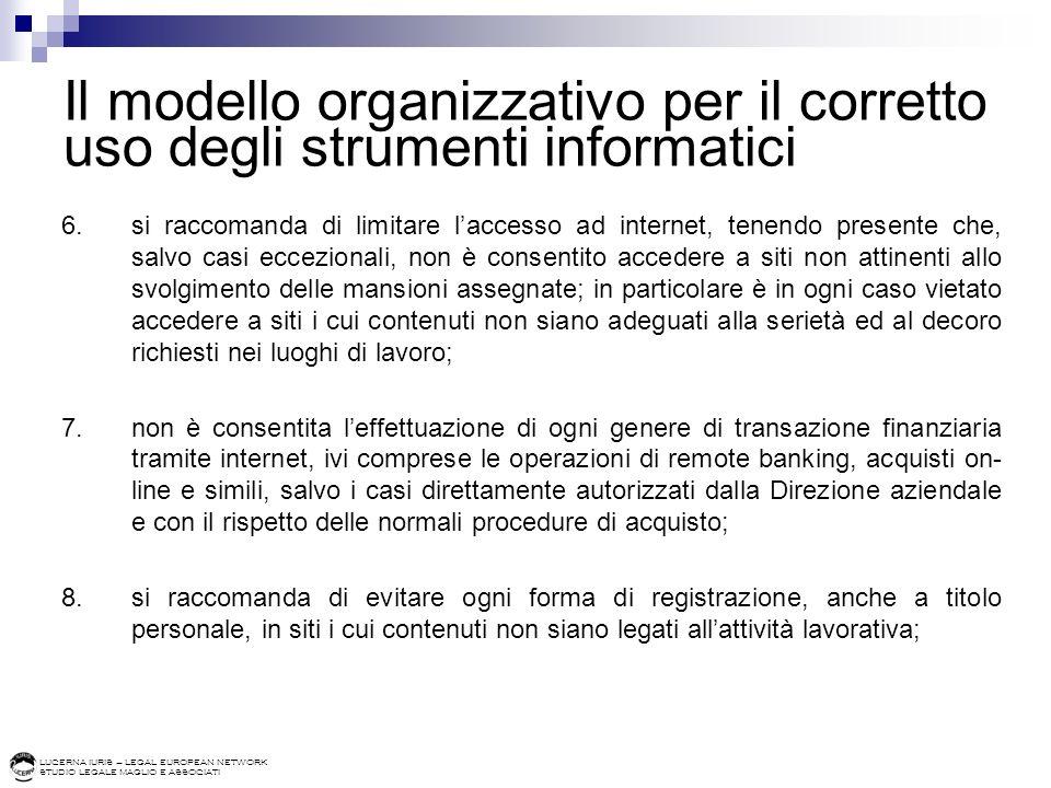Il modello organizzativo per il corretto uso degli strumenti informatici