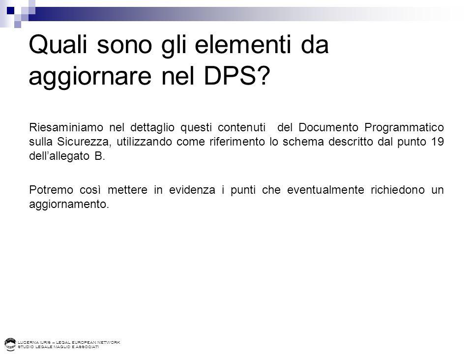Quali sono gli elementi da aggiornare nel DPS