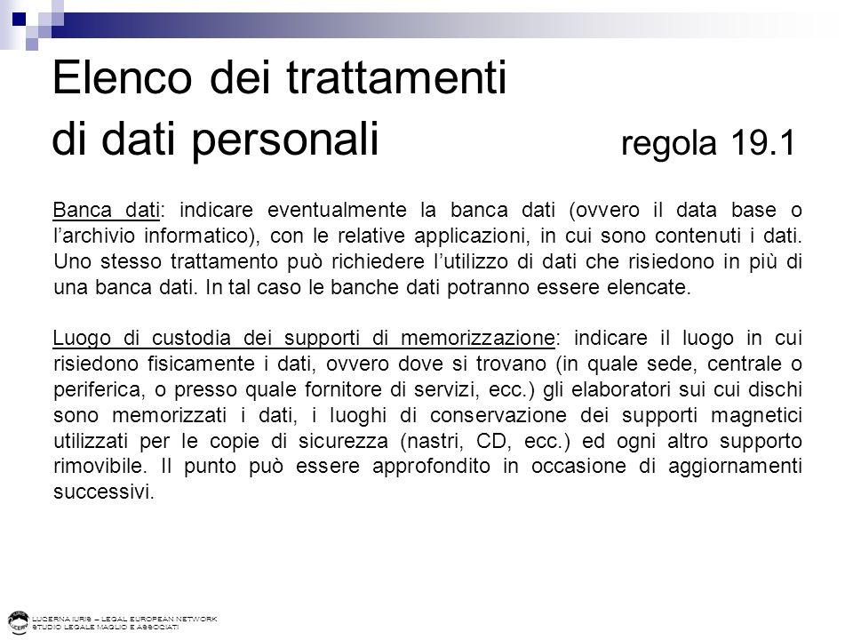 Elenco dei trattamenti di dati personali regola 19.1