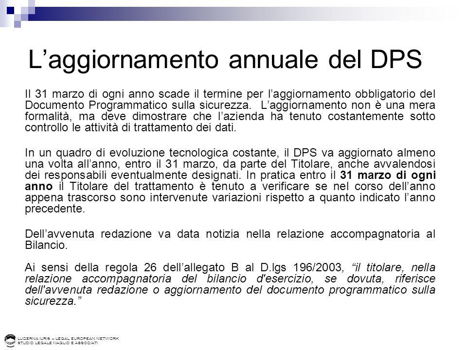 L'aggiornamento annuale del DPS