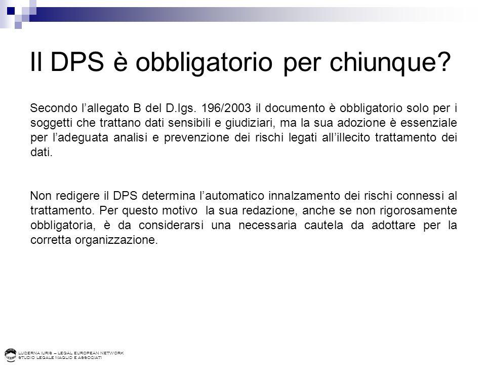 Il DPS è obbligatorio per chiunque