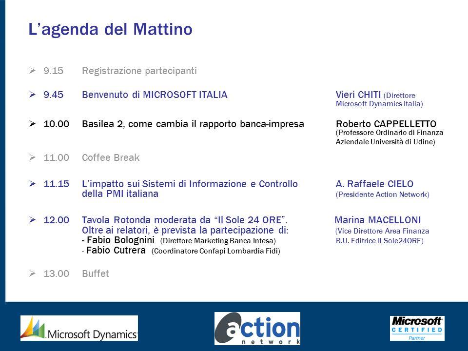 L'agenda del Mattino 9.15 Registrazione partecipanti