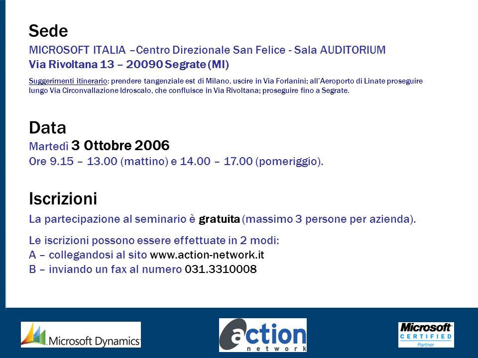 Sede MICROSOFT ITALIA –Centro Direzionale San Felice - Sala AUDITORIUM Via Rivoltana 13 – 20090 Segrate (MI)