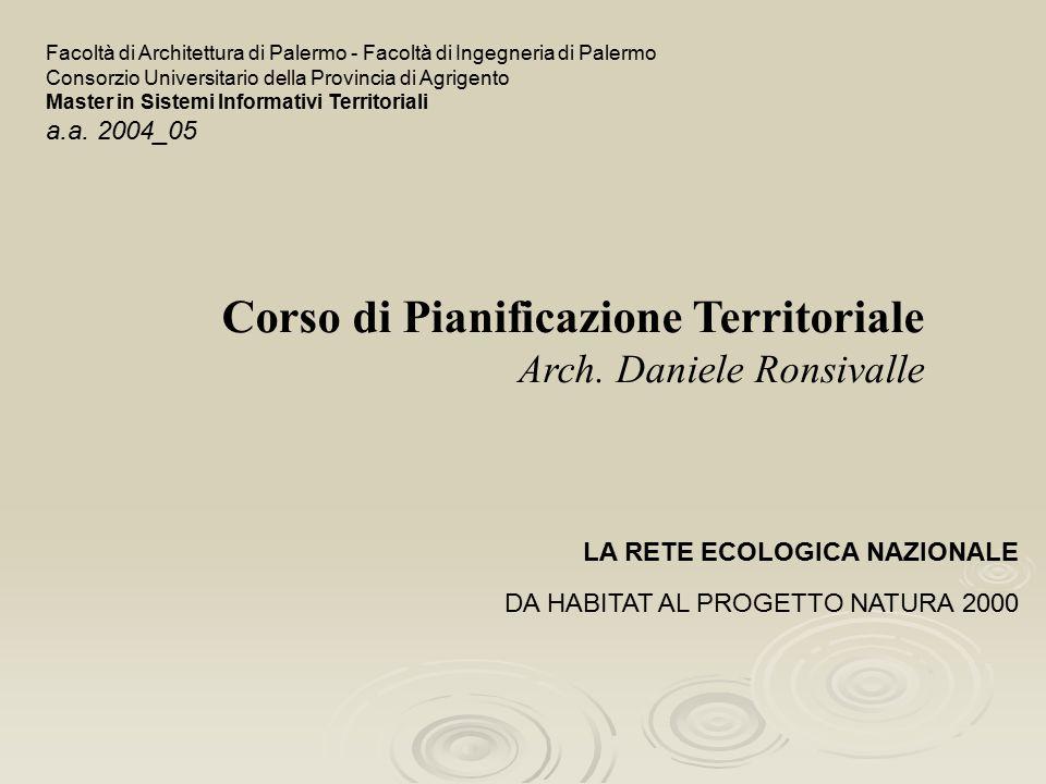 Corso di Pianificazione Territoriale Arch. Daniele Ronsivalle