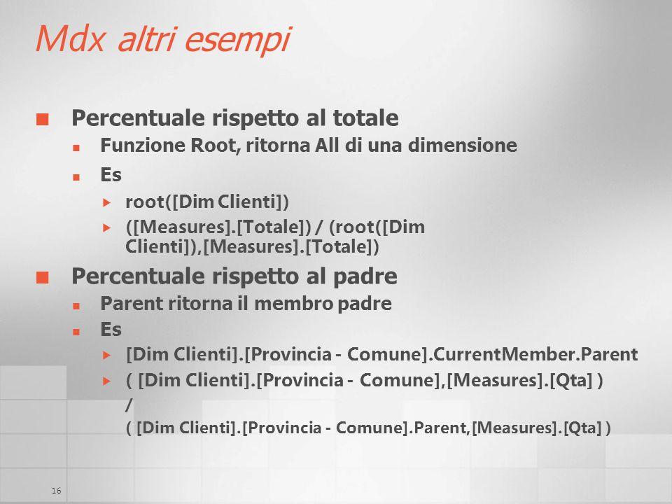 Mdx altri esempi Percentuale rispetto al totale