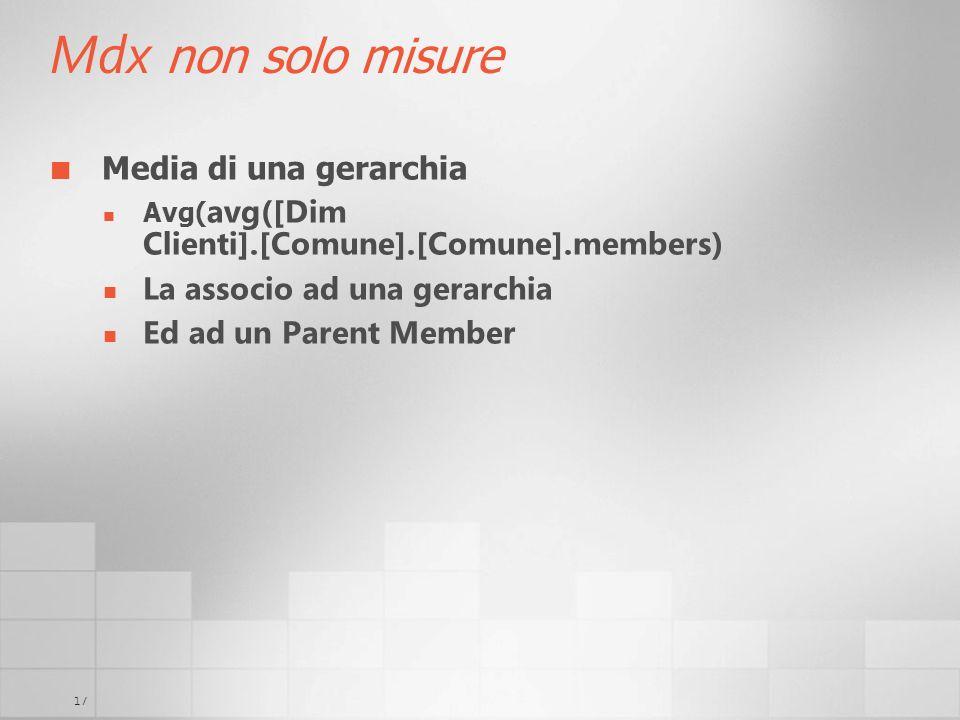 Mdx non solo misure Media di una gerarchia La associo ad una gerarchia