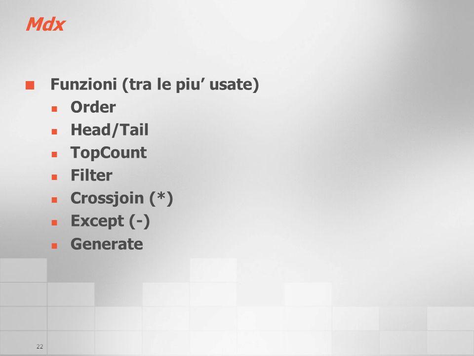 Mdx Funzioni (tra le piu' usate) Order Head/Tail TopCount Filter