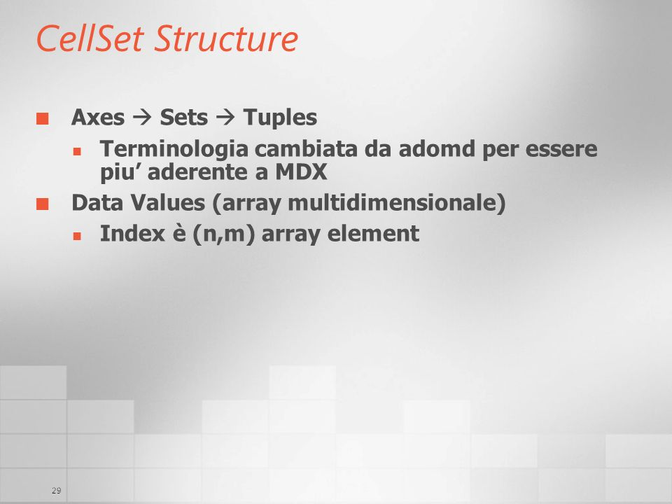 CellSet Structure Axes  Sets  Tuples