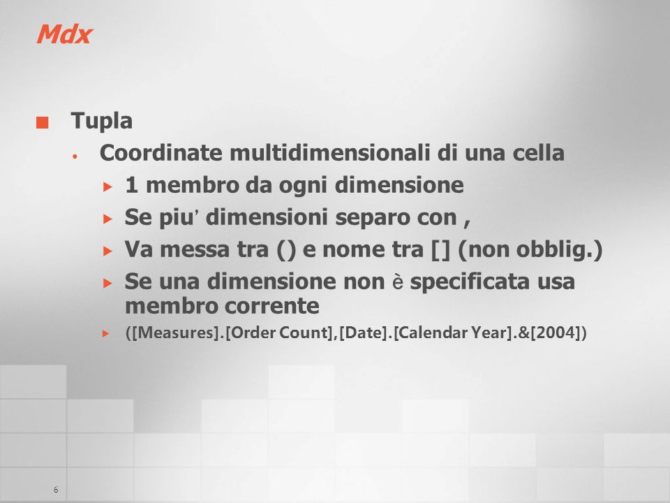 Mdx Tupla Coordinate multidimensionali di una cella