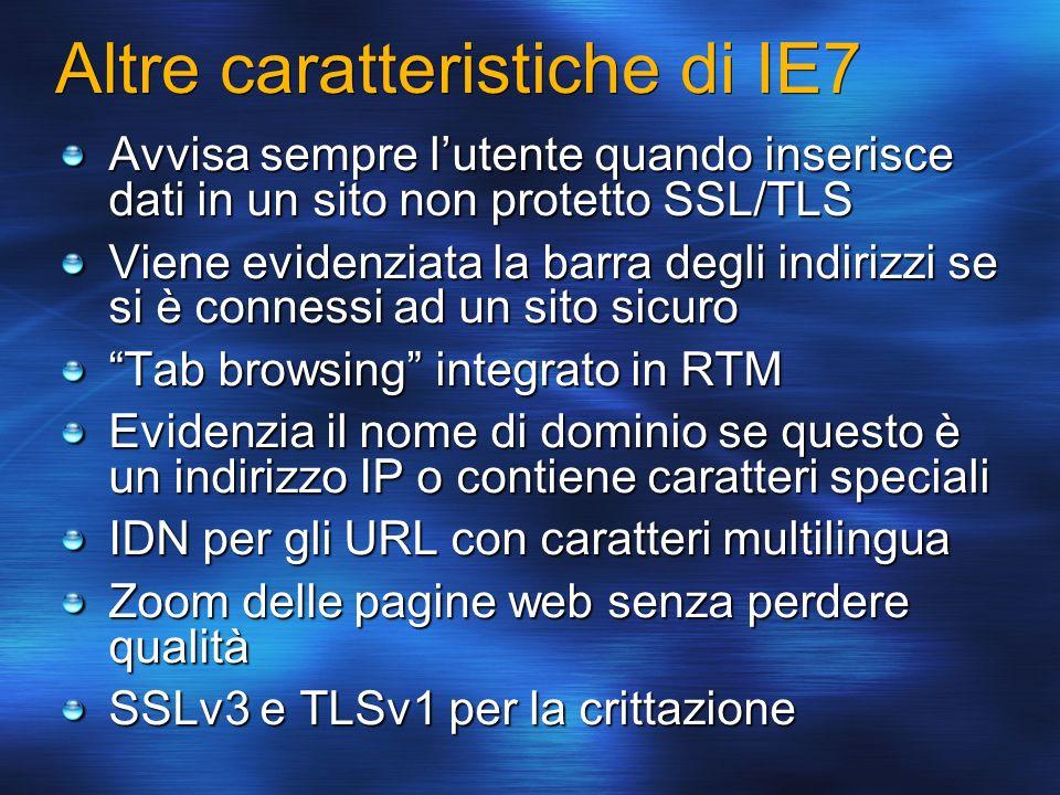 Altre caratteristiche di IE7