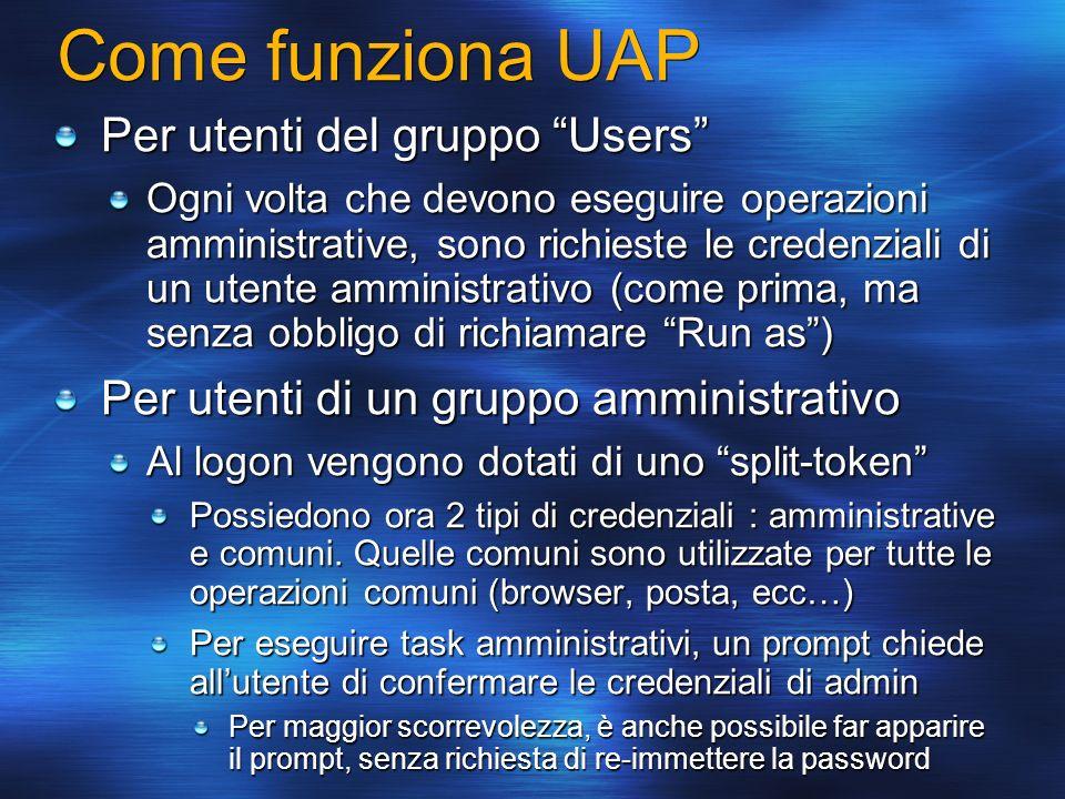 Come funziona UAP Per utenti del gruppo Users