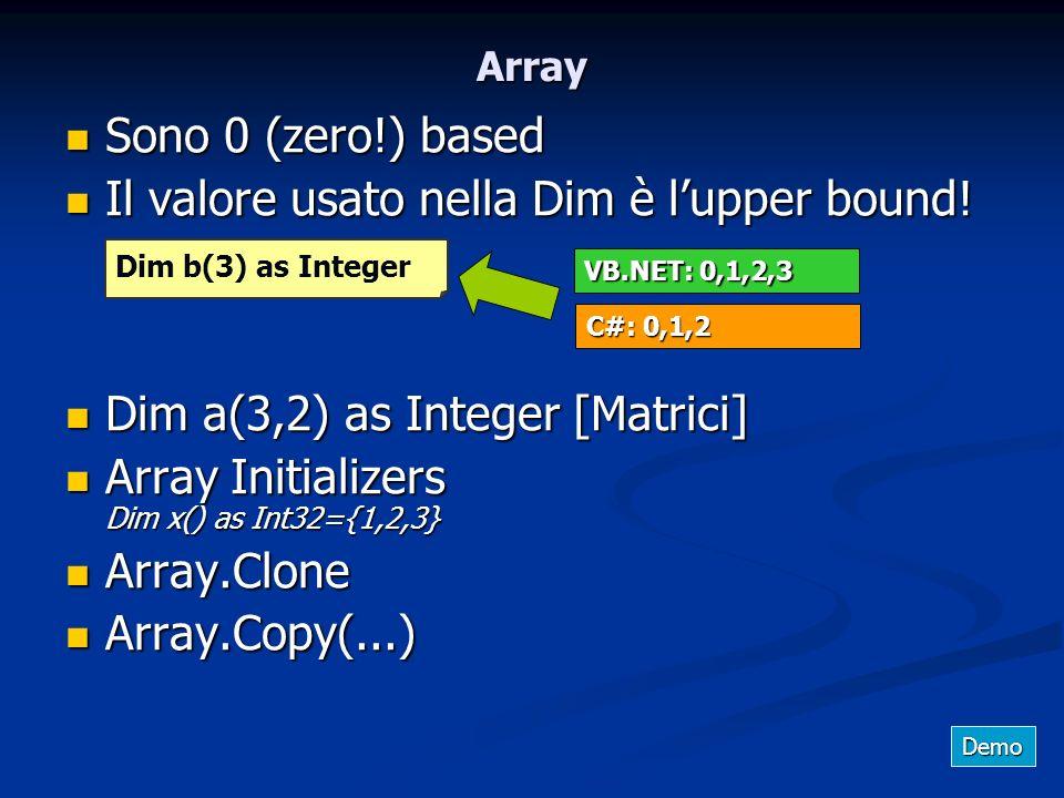 Il valore usato nella Dim è l'upper bound!