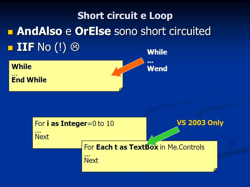 AndAlso e OrElse sono short circuited IIF No (!) 