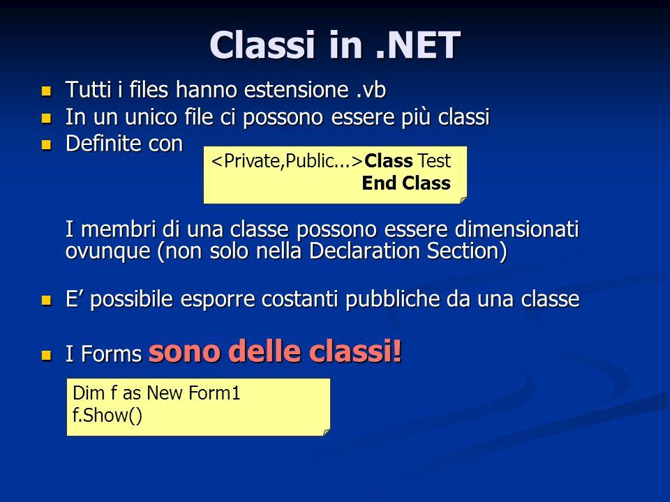 Classi in .NET Tutti i files hanno estensione .vb