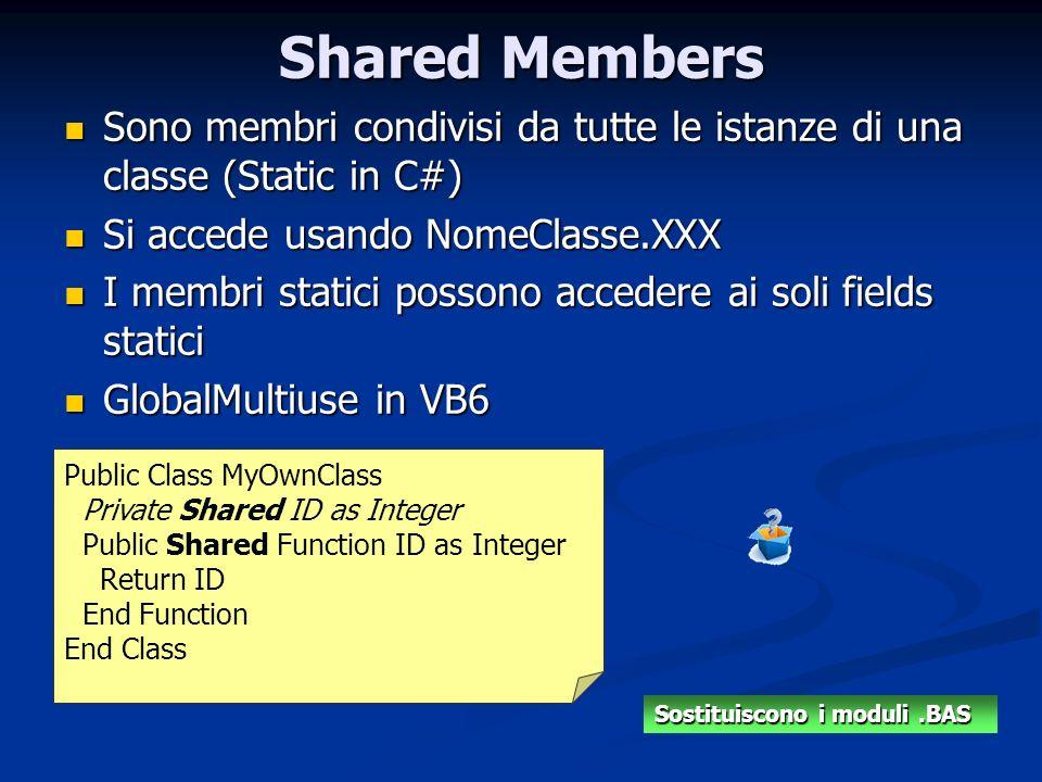 Shared Members Sono membri condivisi da tutte le istanze di una classe (Static in C#) Si accede usando NomeClasse.XXX.
