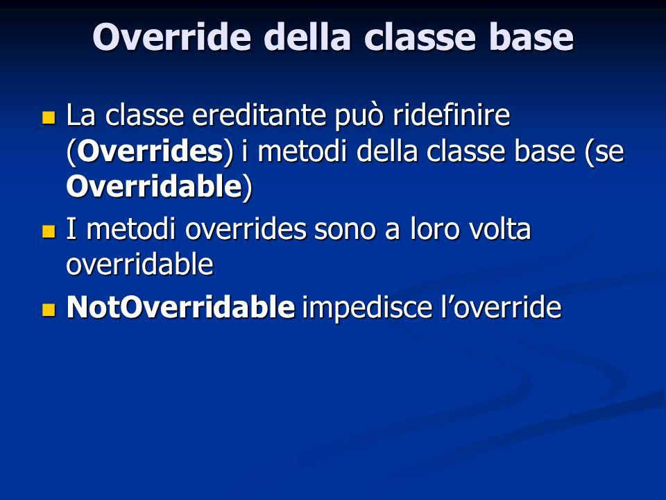 Override della classe base