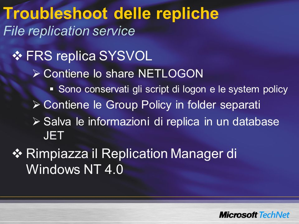 Troubleshoot delle repliche File replication service