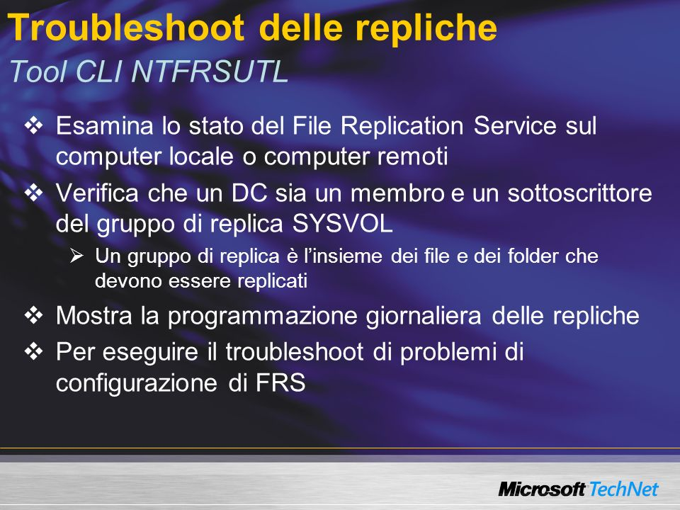 Troubleshoot delle repliche Tool CLI NTFRSUTL