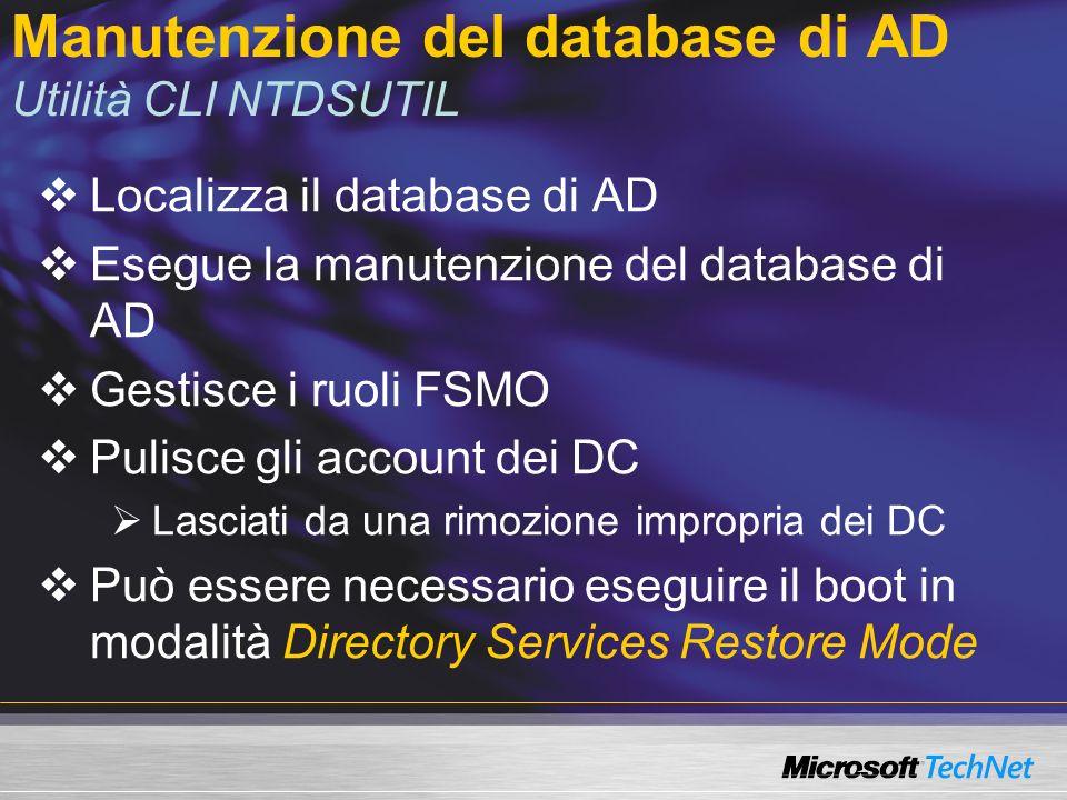 Manutenzione del database di AD Utilità CLI NTDSUTIL