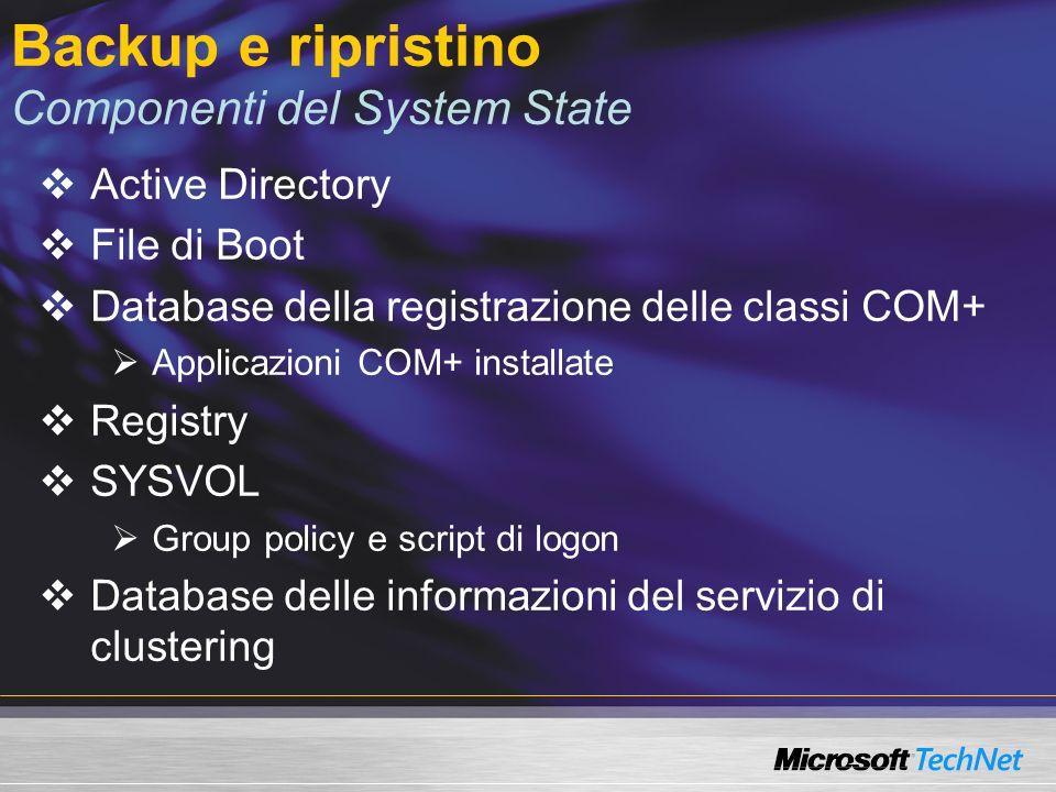 Backup e ripristino Componenti del System State
