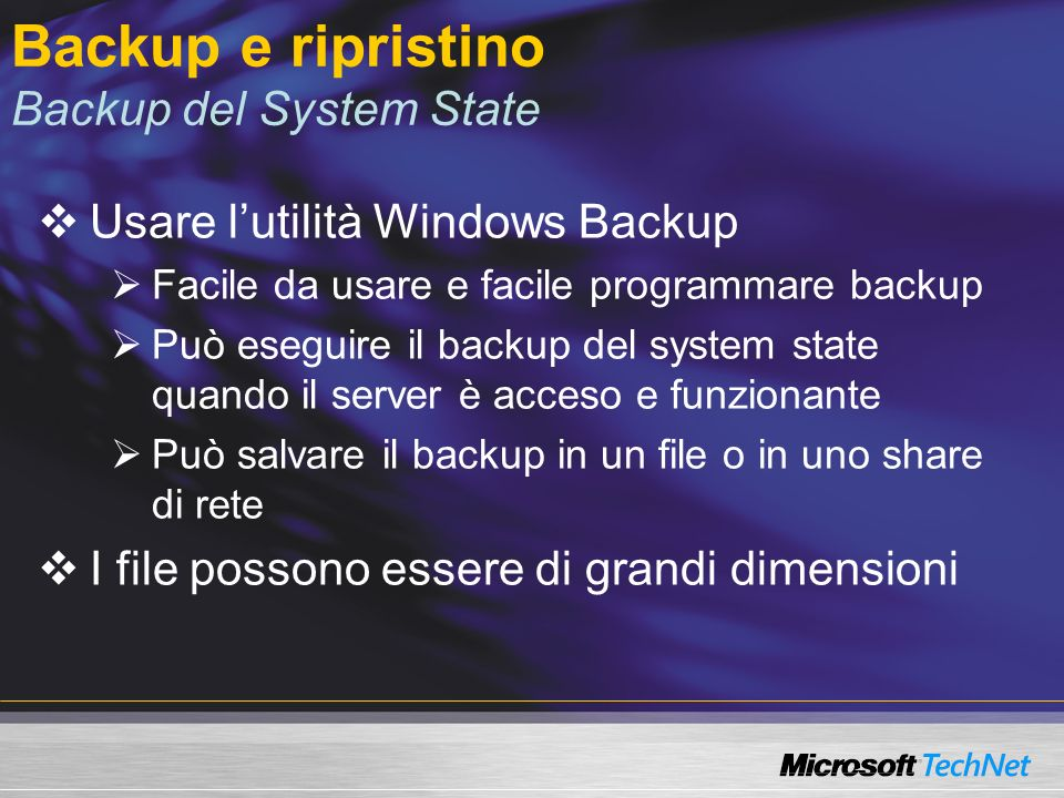 Backup e ripristino Backup del System State