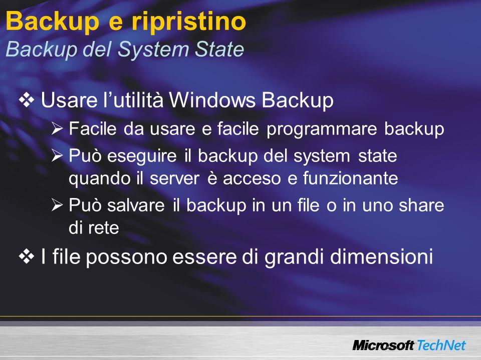 Backup e ripristino Backup del System State