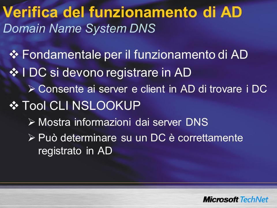 Verifica del funzionamento di AD Domain Name System DNS