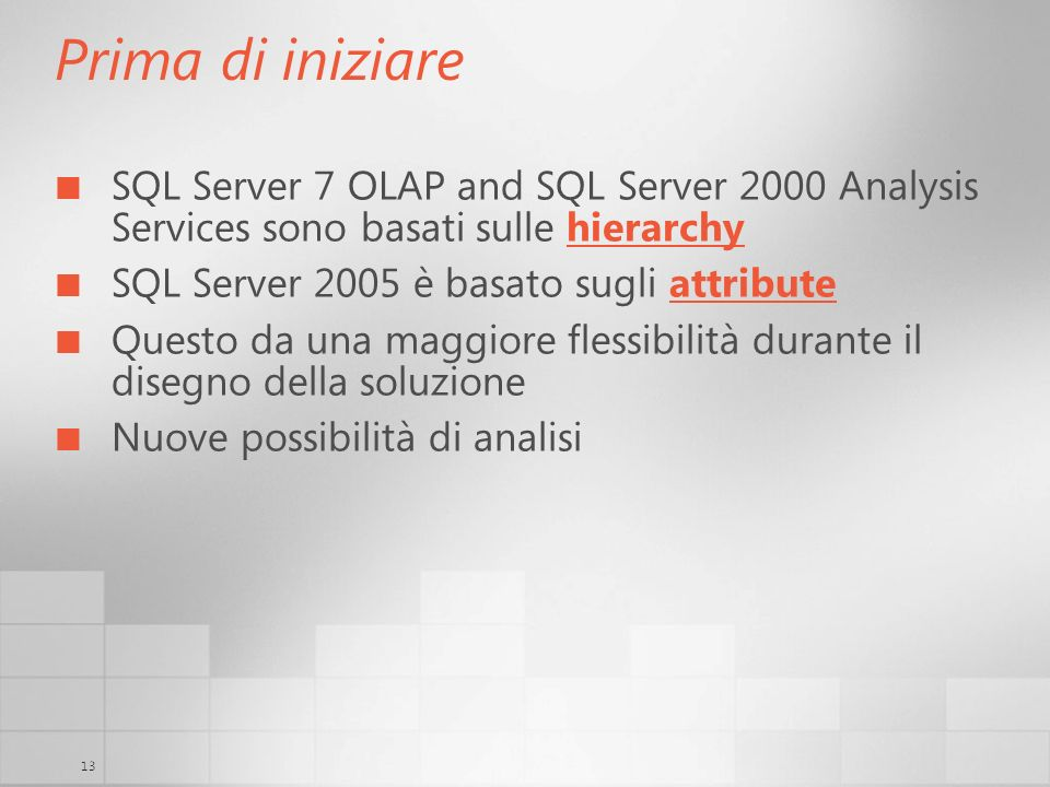 Prima di iniziare SQL Server 7 OLAP and SQL Server 2000 Analysis Services sono basati sulle hierarchy.
