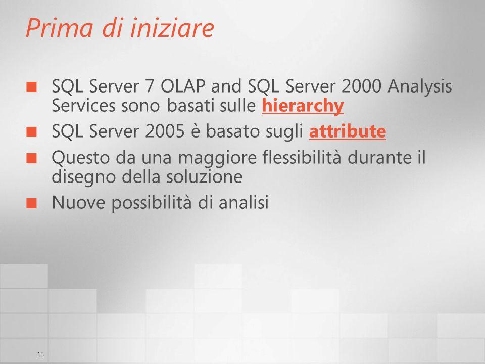 Prima di iniziareSQL Server 7 OLAP and SQL Server 2000 Analysis Services sono basati sulle hierarchy.