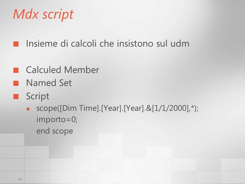 Mdx script Insieme di calcoli che insistono sul udm Calculed Member