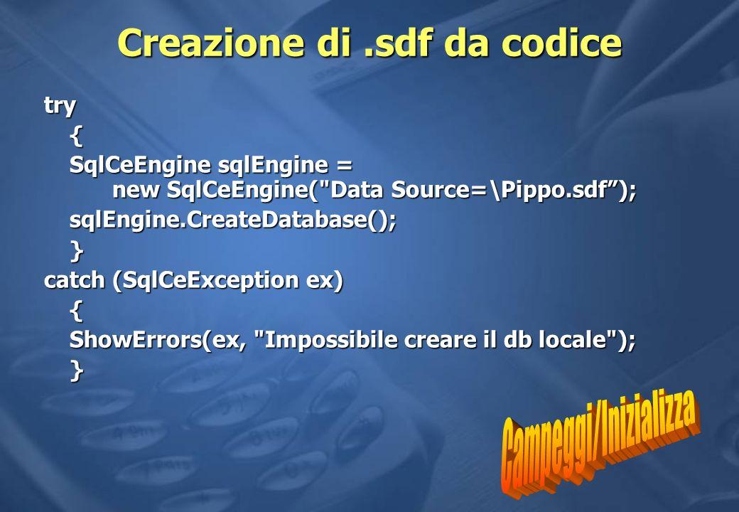 Creazione di .sdf da codice