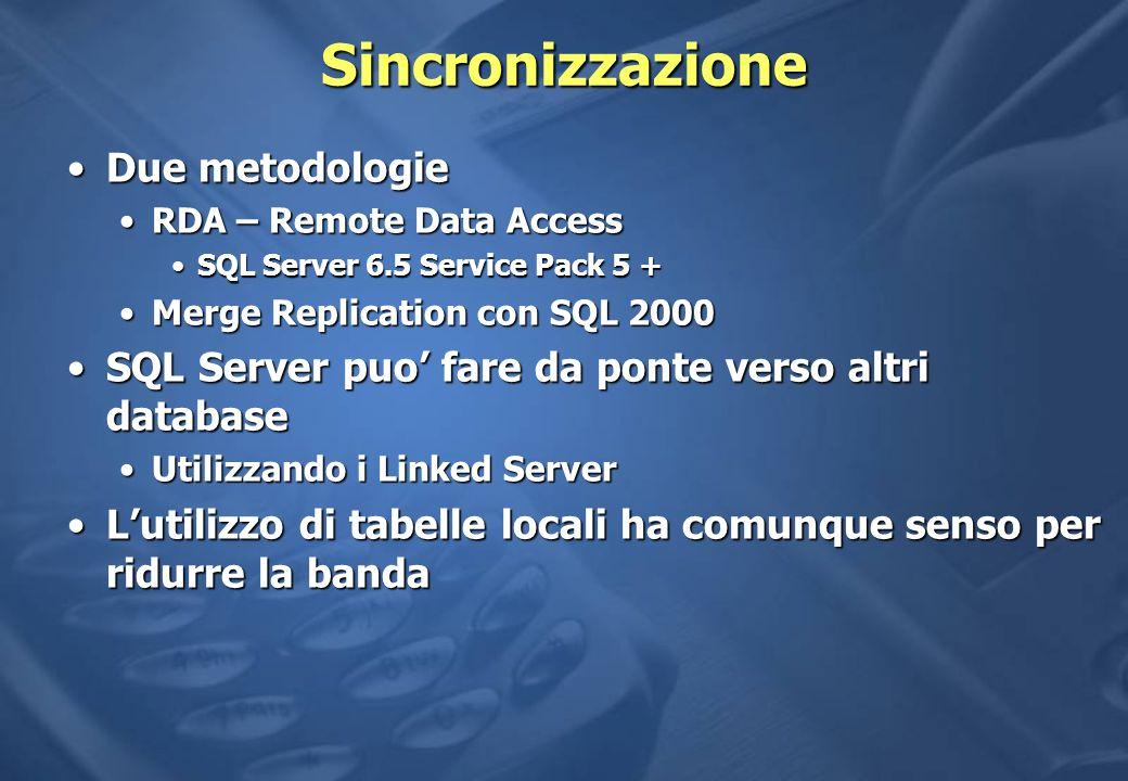 Sincronizzazione Due metodologie