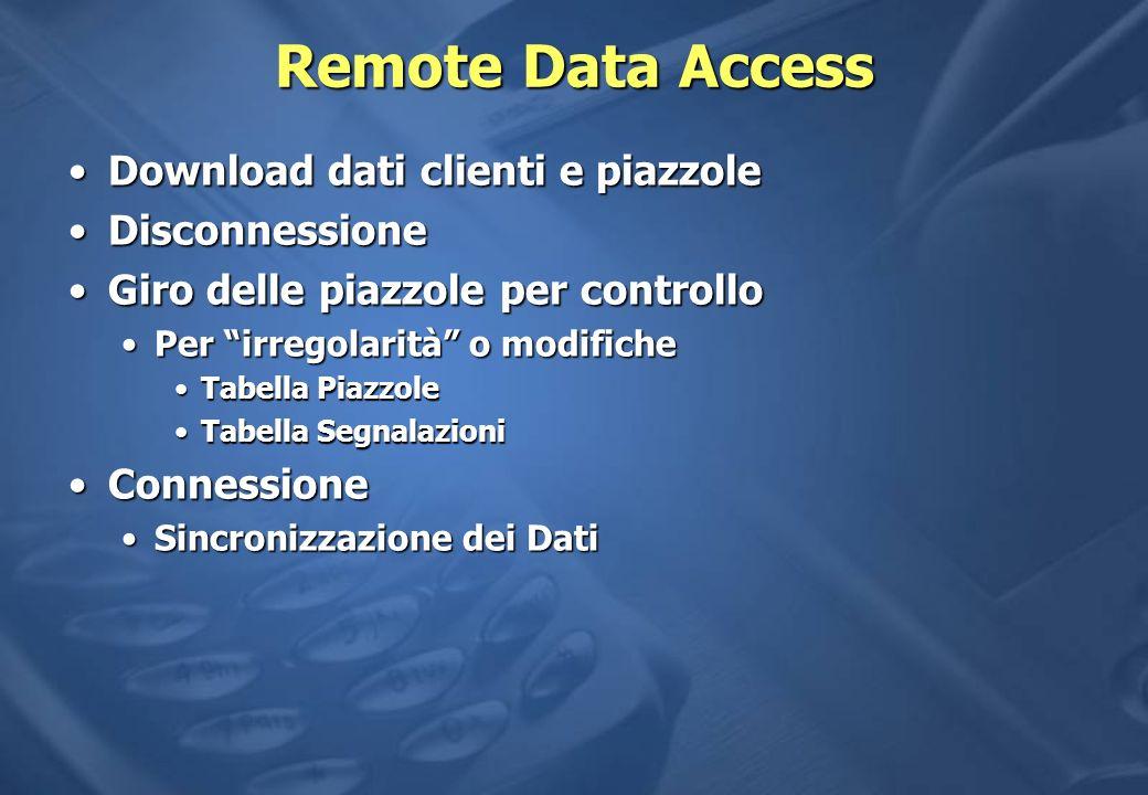 Remote Data Access Download dati clienti e piazzole Disconnessione