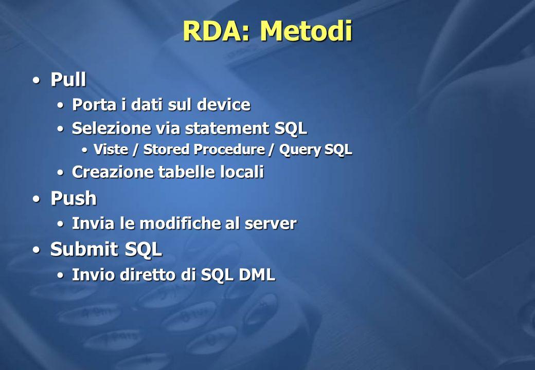 RDA: Metodi Pull Push Submit SQL Porta i dati sul device