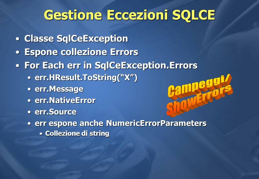 Gestione Eccezioni SQLCE