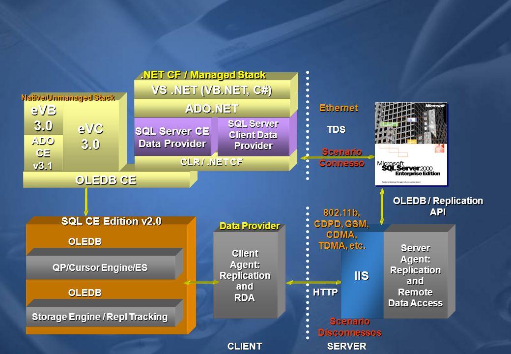 eVB 3.0 eVC 3.0 VS .NET (VB.NET, C#) ADO.NET OLEDB CE IIS