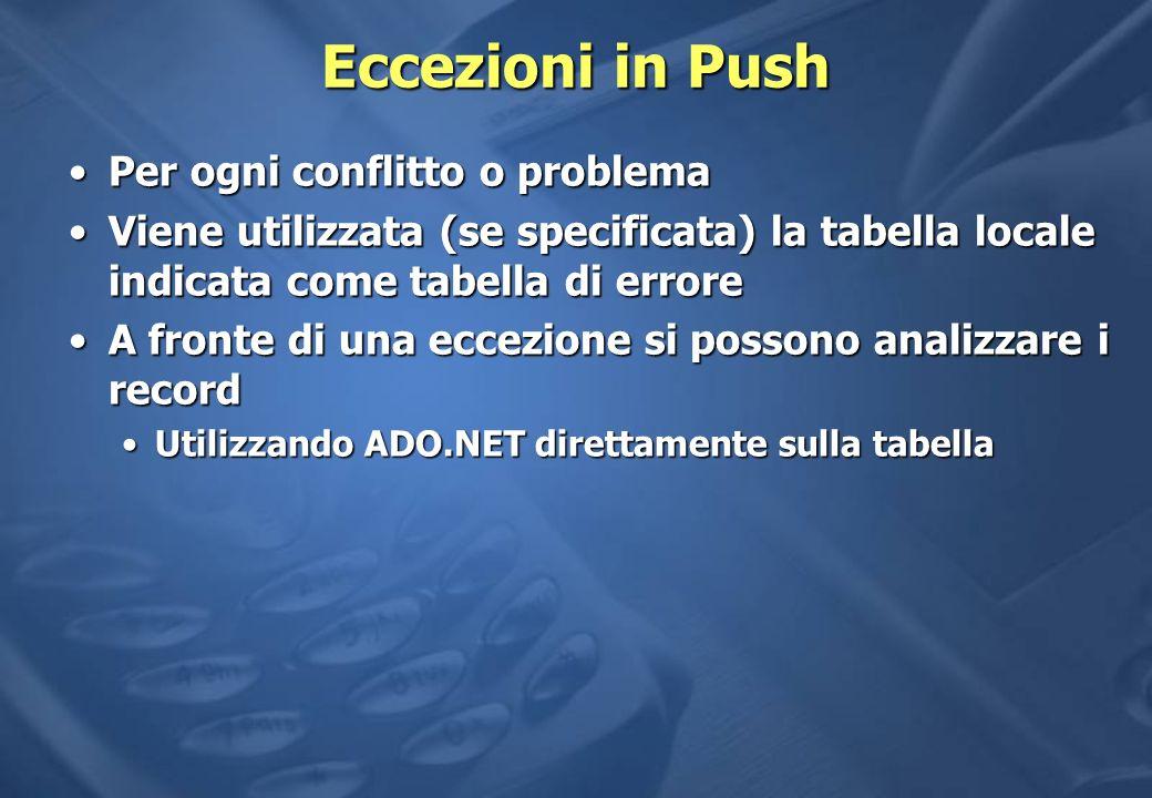 Eccezioni in Push Per ogni conflitto o problema