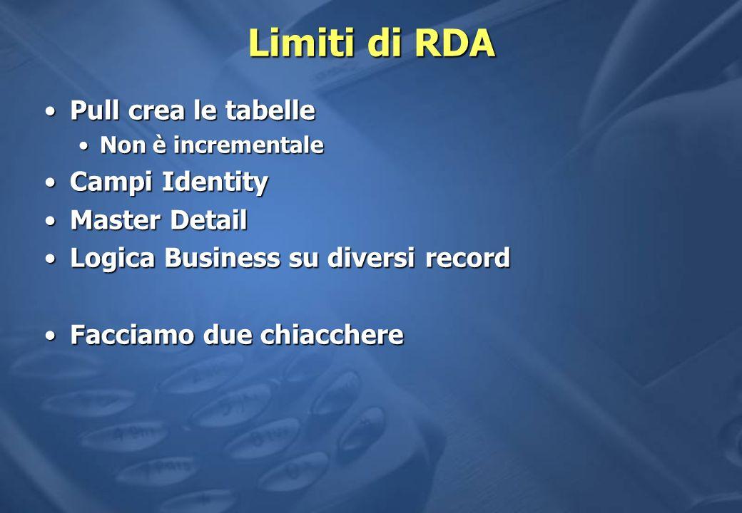 Limiti di RDA Pull crea le tabelle Campi Identity Master Detail