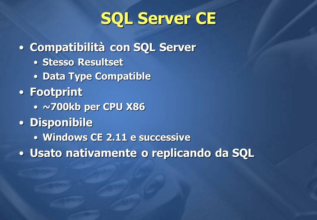 SQL Server CE Compatibilità con SQL Server Footprint Disponibile