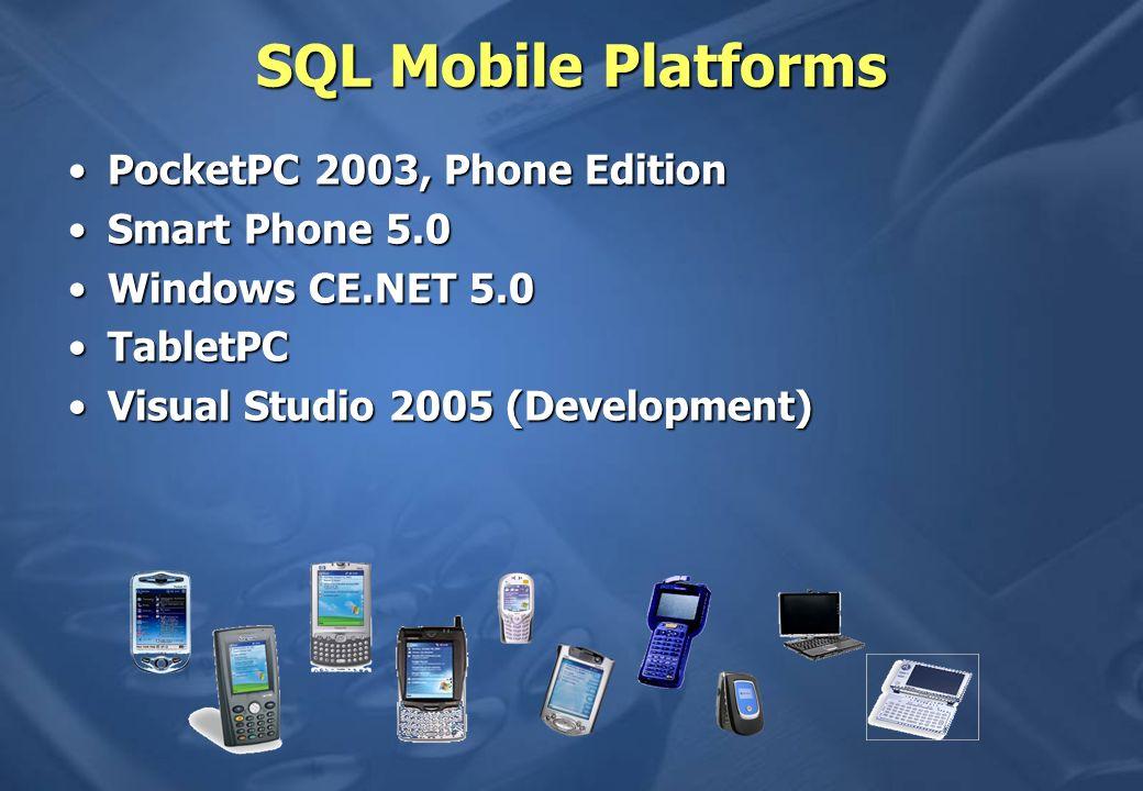 SQL Mobile Platforms PocketPC 2003, Phone Edition Smart Phone 5.0