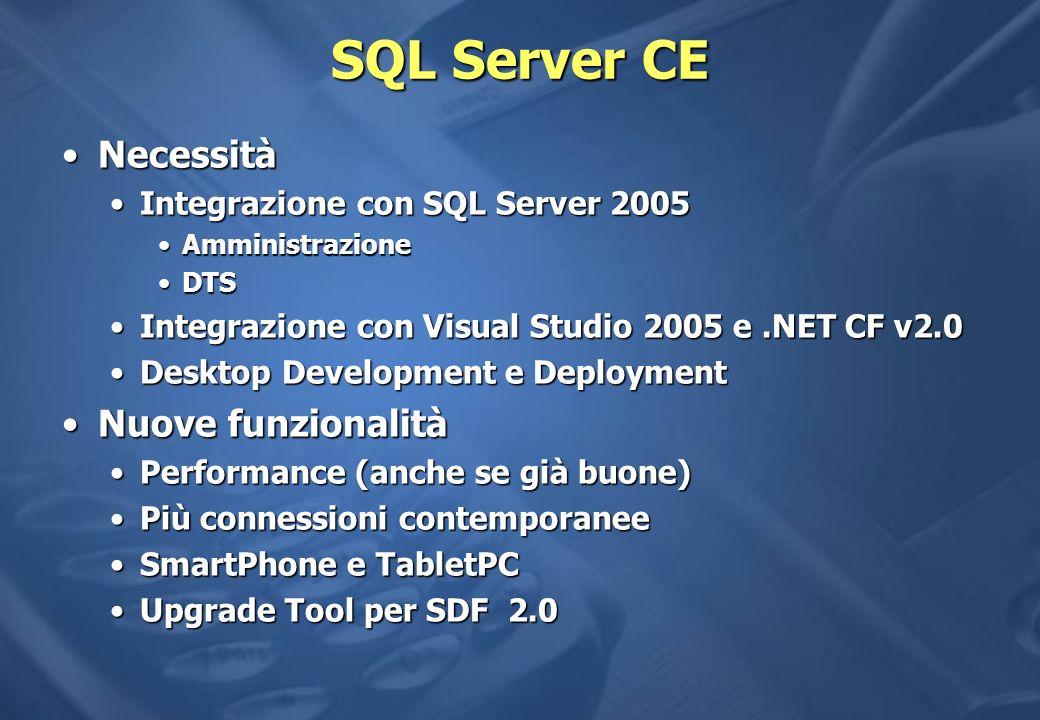 SQL Server CE Necessità Nuove funzionalità