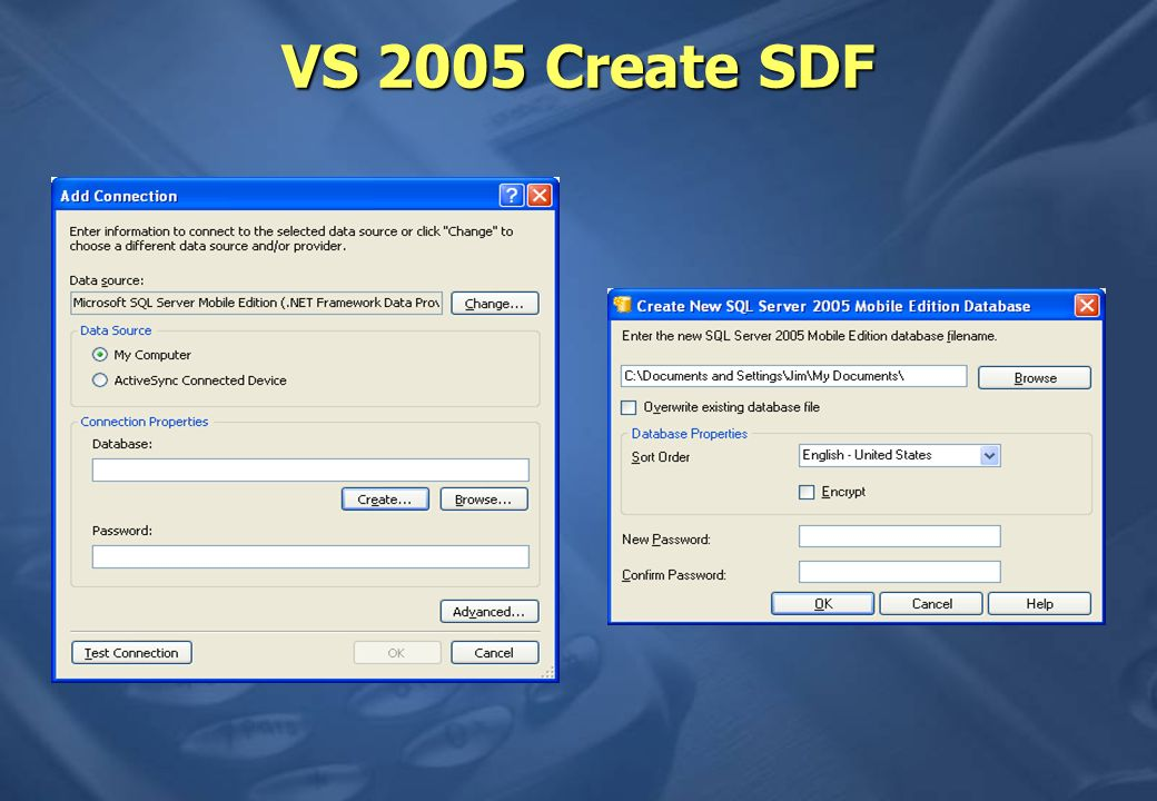 VS 2005 Create SDF