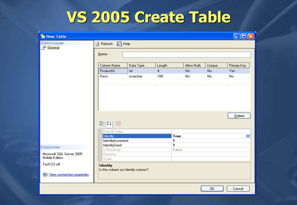 VS 2005 Create Table