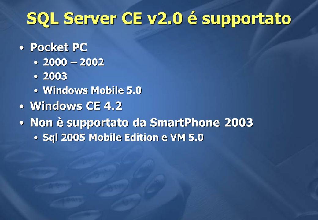SQL Server CE v2.0 é supportato