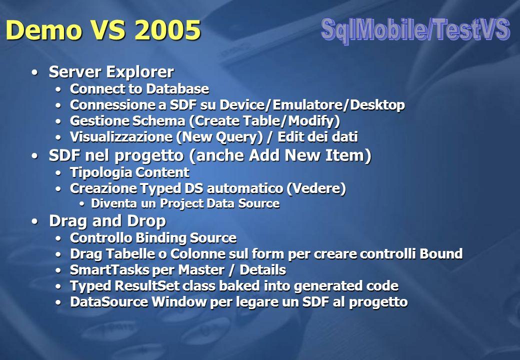 Demo VS 2005 SqlMobile/TestVS Server Explorer