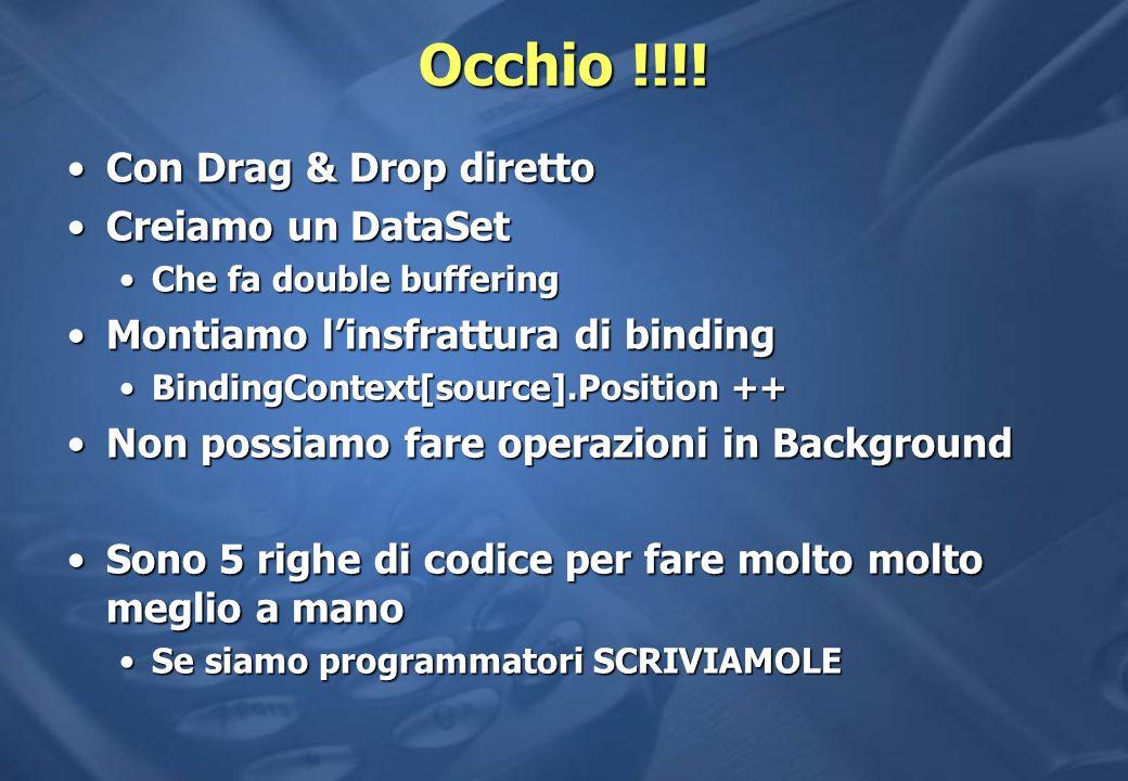 Occhio !!!! Con Drag & Drop diretto Creiamo un DataSet